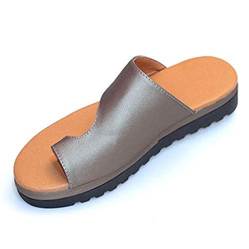 COZOCO Damenmode Flats Wedges Open Toe Knöchel Strand Schuhe Roman Slippers Platform Sandals(Grau,43 EU)