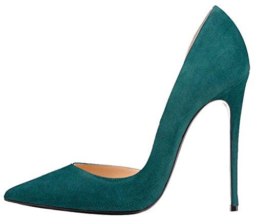 Calaier Femme Catea 12CM Aiguille Glisser Sur Escarpins Chaussures vert B