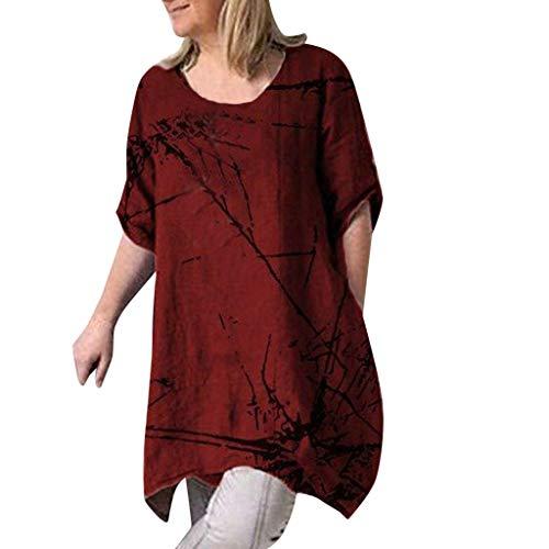 iHENGH Karnevalsaktion Damen Top Bluse Bequem Lässig Mode T-Shirt Frühling Sommer Blusen Frauen beiläufige Kurzarm Rundhalsausschnitt gedruckte Oberteile lose T-Shirt Bluse(Rot, ()
