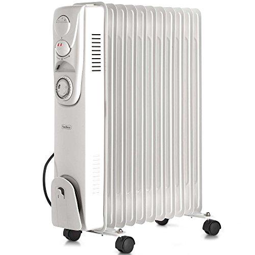 VonHaus Radiateur à Bain d'huile électrique 2500 W — 11 éléments, 3 puissances de chauffage, Thermostat Réglable, Minuterie de 24 heures