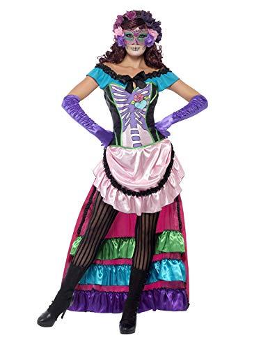 Smiffys, Damen Tag der Toten Zucker-Schädel Kostüm, Kleid mit Schleppe, Schnürkorsett und Augenmaske, Größe: M, ()