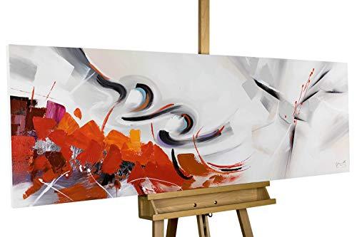 KunstLoft® Acryl Gemälde 'Warm Elegance' 150x50cm | original handgemalte Leinwand Bilder XXL | Abstrakt Rot Weiß Orange XXL | Wandbild Acrylbild Moderne Kunst einteilig mit Rahmen (Abstrakte Kunst Rot)