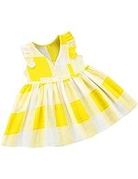 OHQ Toddler Kids Baby Girls Plaid Vestidos a rayas Ropa Fiesta Vestidos de Princesa Elegante y