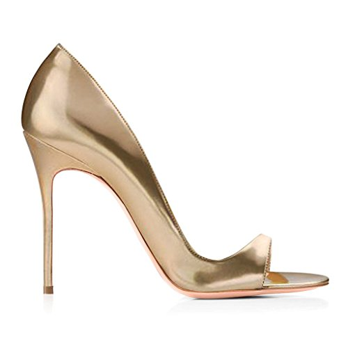 EDEFS Damen Peep Toe Sandalen Offener Zehen High Heels DOrsay Sommer Schuhe Gold