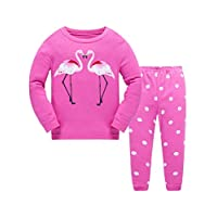 Girls Christmas Pyjamas Set Cute Giraffee Flamingo Toddler Sleepwear Pjs Set 100% Cotton Long Sleeve Nightwear 2 Piece Outfit for Childrens Kids