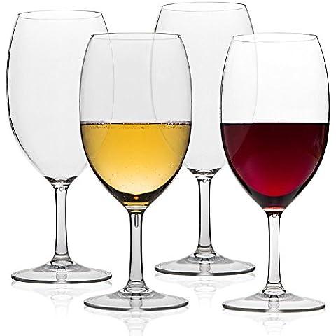 MICHLEY infrangibile, bicchieri da vino, 100% Tritan-Bicchieri infrangibili da vino rosso, senza BPA, lavabile in lavastoviglie,53cl 4 Pezzi