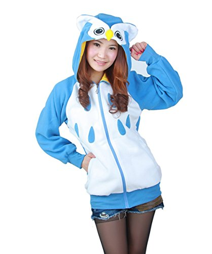 DarkCom Adult Cartoon Jacken Cosplay Kleider Reißverschluss Hoodies Sweatshirt Outerwear Eule Klein