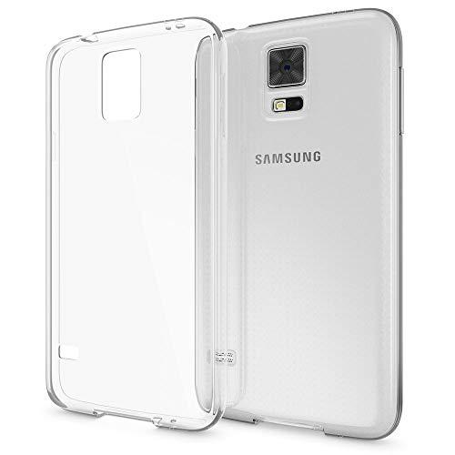 NALIA Handyhülle kompatibel mit Samsung Galaxy S5 S5 Neo, Hülle Ultra-Slim Silikon Case Dünn Crystal Schutzhülle, Etui Handy-Tasche Back-Cover Bumper, Thin Smart-Phone Gummihülle - Transparent/Klar