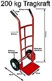 Profi Sackkarre Stahl Transportkarre Stapelkarre Industrie 200kg, 26 cm Anti-Rutsch Räder Heavy Duty, rot, Izzy Sport
