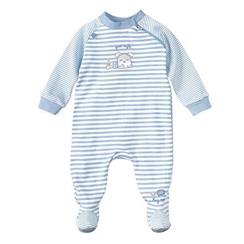 Bornino Schlafoverall - Baby-Schlafstrampler mit Streifen- & Bärchen-Print - Strampler aus Reiner Baumwolle mit praktischem Reißverschluss -
