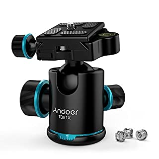 Andoer Camera Tripod Ball Head Ballhead with Quick Release Plate 1/4 Max. Load 8KG/17.64Lbs (Style2)
