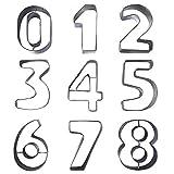 Kentop Keksausstecher Zahlen Ausstecher Edelstahl Ausstechformen set 0-8 Zahlenform Keksausstecher für Keks Fondant Kuchen Dekoration Modell Werkzeuge