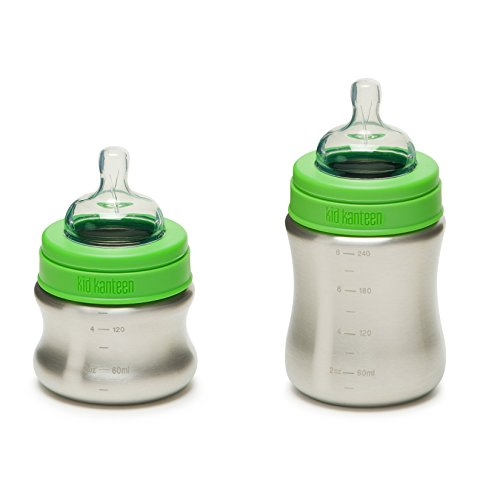 Kid Kanteen Brushed Stainless Steel baby bottle with teats – BPA and toxin free 41teXHGAADL