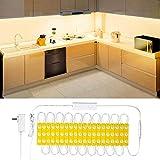 Wobsion Bande LED blanc chaud avec 60 LED, bande lumineuse avec télécommande sans fil, bande LED pour salle de bain, éclairag