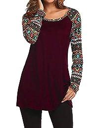 DAYLIN Mujer Moda Manga Larga Cuello Redondo Geométrico Impreso Patchwork Blusa Tops Ropa Camiseta