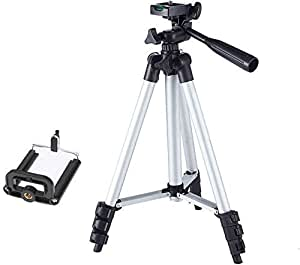CrazyInk Tripod-3110 Portable Adjustable Aluminum Lightweight Camera Stand with Three-Dimensional Head & Quick Release Plate and Mobile Phones Tripod (Black, Supports Up to 1000 g)