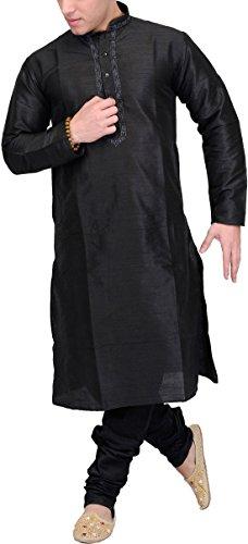 Exotic India Men's Plain Wedding Kurta Pyjama with Embroidery on Neck -...