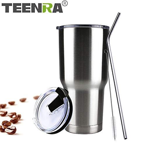 Grsb bicchiere in acciaio inox con coperchio paglia 30 oz doppio recipiente per vuoto isolato tazza di birra bere thermos caffè,argento