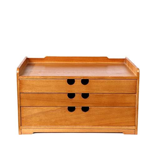 YJPDPZWJ Desktop Schublade Typ Kleiner Lagerschrank, Holz Finishing-Box, Massivholz Büro Aufbewahrungsbox, Bürobedarf, Aufbewahrungsbox, Schreibtisch Aktenschrank (Size : 3 Floors) (Aktenschrank Massivholz)
