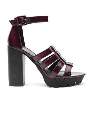 Qupid Women Burgundy Strappy Platforms