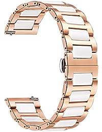 TRUMiRR Kompatibel mit Garmin Vivomove HR Sport Armband Metall, Rose Gold Edelstahl Uhrenarmband Weiß Keramik Armband Sport Ersatzband für Garmin Vivomove HR Sport Nur(Nicht für Vivomove HR Premium)