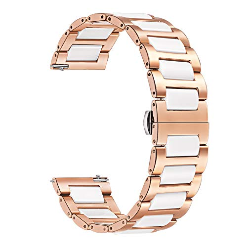 TRUMiRR Kompatibel mit Garmin Vivomove HR Sport Armband Metall, Rose Gold Edelstahl Uhrenarmband Weiß Keramik Armband Sport Ersatzband für Garmin Vivomove HR Sport Nur(Nicht für Vivomove HR Premium) (Metall-armband)