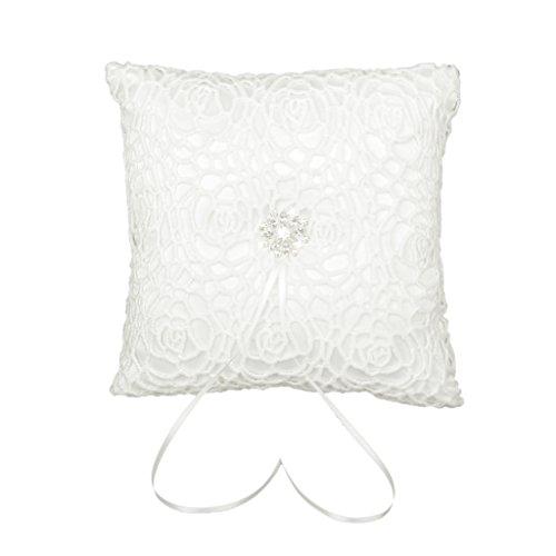 Elfenbein Satin Diamante Blume Hochzeit Ringkissen 20cmx20cm -