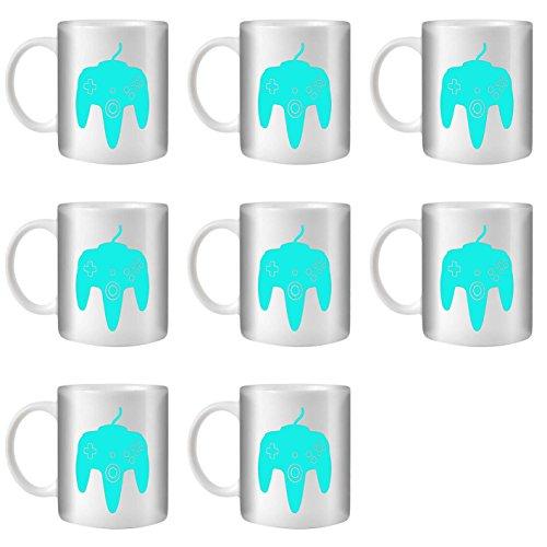 STUFF4 Tasse de Café/Thé 350ml/8 Pack Turquoise/N64/Céramique Blanche/ST10