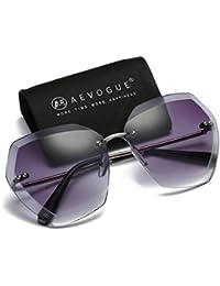 960e39ce062 AEVOGUE Sunglasses For Women Oversized Rimless Diamond Cutting Lens Sun  Glasses AE0534 (Silver Gray