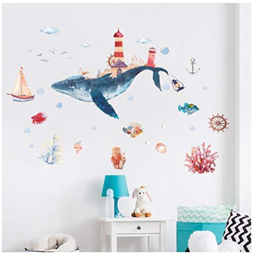 Underwater World - Adesivi da parete per cameretta dei bambini, motivo: Wndow in vetro, 60 x 90 cm