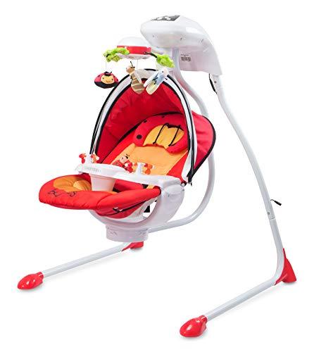 Bugies Caretero elektrische Mobile Baby-Schaukelwippe mit Musik, Timer, Moskitonetz und 3 verschiedenen Schaukelrichtungen Rot