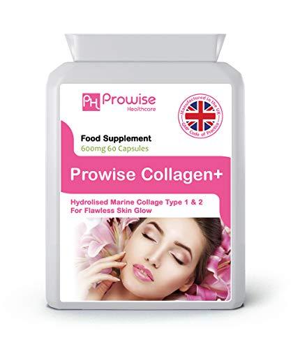 Pure Marine Collagen Kapseln 60 x 600mg - Hydrolysiert Typ 1 & Typ 2 Kollagen - Hochfeste Hautpflege & Gelenkgesundheitsergänzung - UK Made Premium Qualität