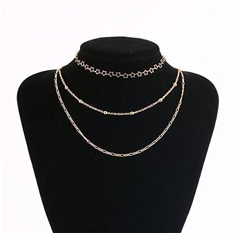 Tpocean 3Couche étoile Lariat Collier gothique Perles Doré ras du cou pour femme