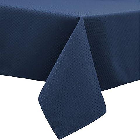 Fanjow® Nappe Jacquard Tissu Polyester Housse de table pour manger de cuisine rectangulaire/rectangulaire étanche résistant aux taches anti-débordement Nappe, Polyester, Blue Waffle, 60