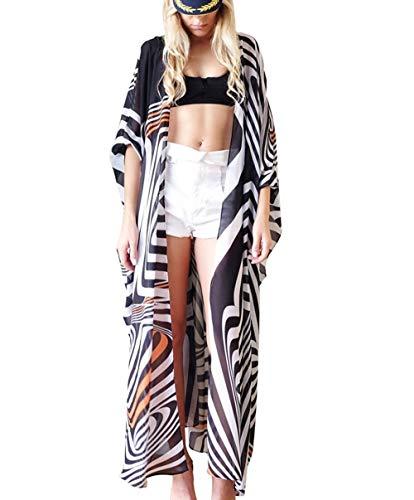 Streifen-kimono Top (Uniquestyle Damen Sommer Kimono Cardigan Strand Chiffon Bluse Tops Boho Bikini Cover Up Streifen)