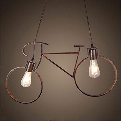 Lampadari lampadario loft industriale sospensione plafoniera in ferro retrò bicicletta lampadario per camera da letto corridoio cafe restaurant (2-luce)