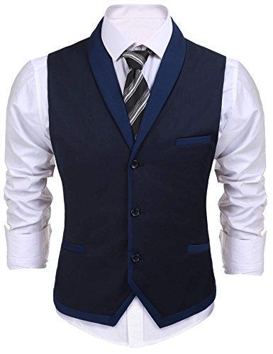 Pagacat Anzug Weste Herren, Mens, Männer Casual V-Neck 3 Button 3 Taschen Kontrast Farbe Slim Fit Lässige Weste Anzug Für Hochzeit, Freizeit