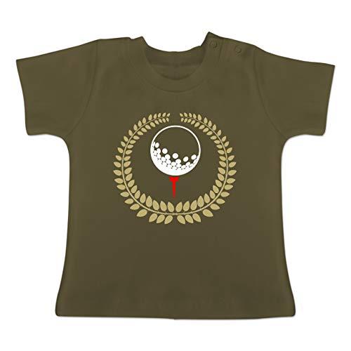 Sport Baby - Lorbeerkanz Golfball Golf-Tee - 6-12 Monate - Olivgrün - BZ02 - Baby T-Shirt Kurzarm
