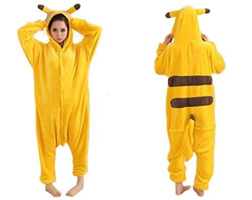 Damen Herren Erwachsene Korallen Fleece Tier Body Kostüm Pullover Pyjamas Schlaf Verschleiß kitty cat / Pikachu / Dinosaurier / Chinchillas / Stich / Giraffen / Kühe / Tigger (XL(175-185cm), ()