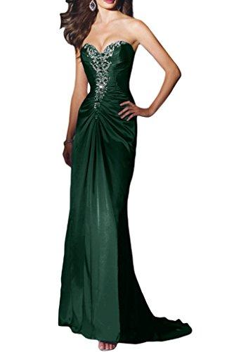 Ivydressing Damen Sexuell Herz-Ausschnitt Promkleid Charmeuse Lang Festkleid Abendkleider Grün