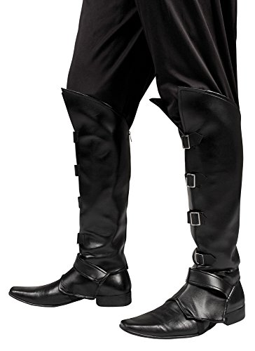 erdbeerloft - Stiefelstulpen Striker mit Stiefelschnallen Kostüm, Schwarz (Robin Hood Girl Kostüme)