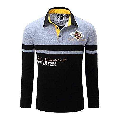 Herren Poloshirt langarm Herren T-Shirts Baumwolle Frühling Langarm Golf Shirt Besticktes Logo Knit Polo Shirt Top (XXL, Grau)