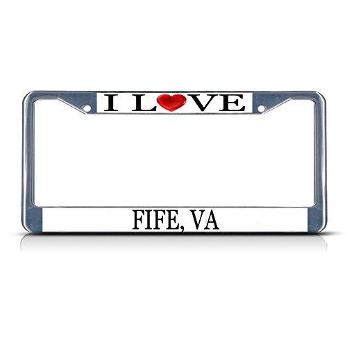 Nummernschild Rahmen I LOVE Herz Fife VA Aluminium Metall Nummernschild Rahmen