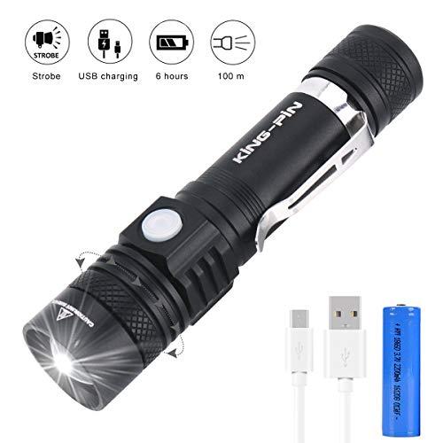 LED Taschenlampe, King-Pin USB Wiederaufladbare Taschenlampe, Einstellbarem Fokus Taschenlampen IPX4 Wasserdicht 5 Modi Perfekt für Haushalt, Stromausfall, Garage, Notfall, Outdoor