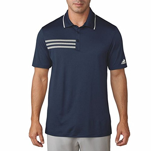 adidas 3-Stripes Mesh Collier Polo de Golf Homme L Bleu