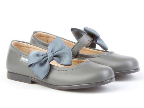 Merceditas avec nœud pour filles tout en cuir mod. 519. Chaussure Enfant Made in Spain, garantie de qualité. Gris