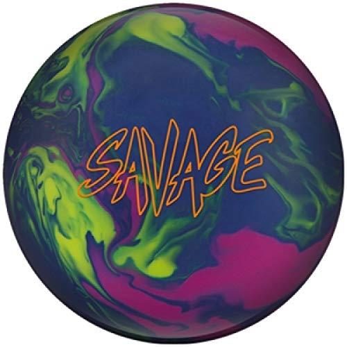 Columbia 300 Savage, Blau/Gelb/Lila, Solid Oberfläche, Reaktiv Bowlingkugel für Einsteiger und Turnierspieler - inklusive 100ml EMAX Ball-Reiniger Größe 15 LBS