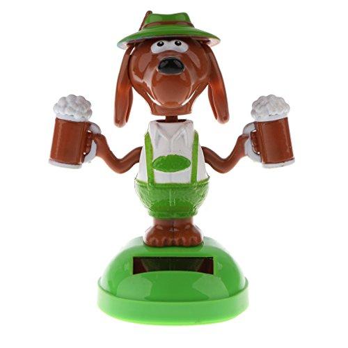 MagiDeal Juguetes Ornamentos de Coche Bobble Cabeza Cerveza Perro de Energía Solar Bailando Flip Solapa