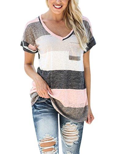 Yidarton Mode Tee Shirt Femme Manche Courte Casual Top Blouse ¨¦t¨¦ Col a29bc258fd0d