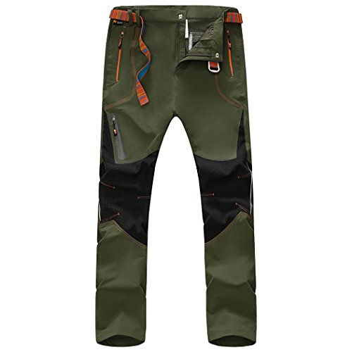 walk-leader da uomo antivento escursionismo, arrampicata pantaloni/pantaloni Army Green X-Large